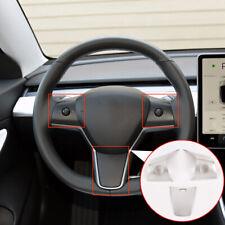 3pcs Set pour Tesla mod/èle 3 Accessoires int/érieurs de Voiture Accessoires de Volant Couverture du Bouton Garniture 3pcs ABS Style de Fibre de Carbone