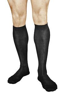 Mens Knee High Socks 100 COTTON Black Grey Thin Dress Long Size 6-8-11, VITSOCKS