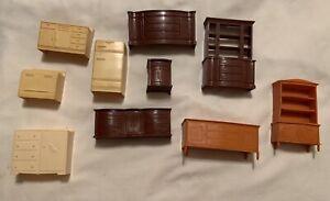lot of 10 vintage marx toys dollhouse furniture bedroom Kitchen Living Room
