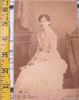 Vintage Antique 1800s Photo Cabinet Card Young Woman Girl Greencastle Indiana