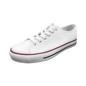 Men White Blank Low Top Red Rubber Sole Cotton Canvas Sneakers Casual Shoe