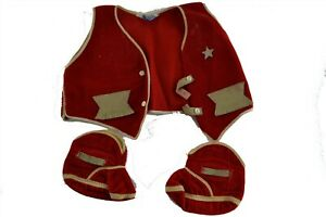 Gertrude Size 1 Baby Boot Red Shoes Vest Corduroy star sheriff cowboy outfit Vtg