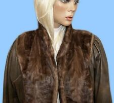 size 12 or Medium DISTRESSED BROWN LEATHER & RANCH MINK PAW FUR COAT - JACKET