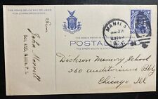 1914 Manila Philippines Postal Stationery Postcard Cover to Chicago IL USA