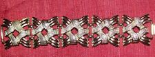 VTG. Signed CORO PRETTY Wide Links Silver Tone Bracelet Textured & Smooth 7 inch