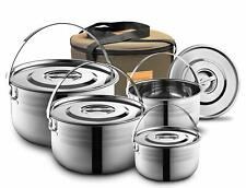 Camping Cookware Set - Compact Stainless Steel Campfire Cooking 4 Piece Pots Kit
