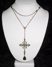 Guess Brand Cross Lavaliere Necklace w/ Purple Crystals