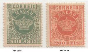 Macau 1884 Crown 10 reis and 200 reis. Mint