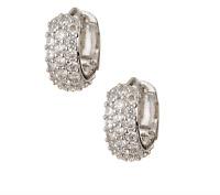 Nordstrom Rack Women's Silver Small Pave Cubic Zirconia Hoop Earrings 0650