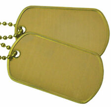 Brass Military Army Blank Matte Dog Tag Set w/ Brass Steel Ball Chains