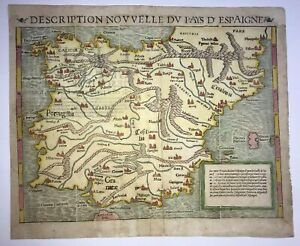 SPAIN PORTUGAL 1568 SEBASTIAN MUNSTER LARGE UNUSUAL ANTIQUE MAP 16TH CENTURY