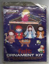 Vintage Titan Needlecraft Felt Ornament Set Nativity Holy Family Craft Kit