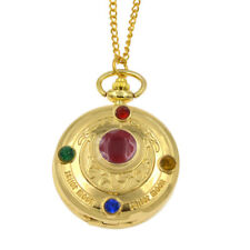 Anime Sailor Moon Pocket Watch Prism Girl Chain Necklace Golden Metal Pendant