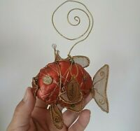 Katherine's Collection Wired, Beaded, Stuffed, Crowned Red Fish Ornament RARE
