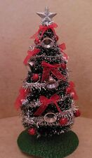 Dollhouse Miniatures Handcrafted Christmas Tree w/silver bells,shinny balls,bows