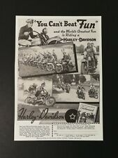 Vintage 1939 Harley-Davidson Motorcycle You Can't Beat Fun Original Full Page Ad