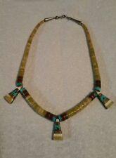 Vtg Old Pawn Zuni Sterling Silver 925 heishi dangle pendant necklace