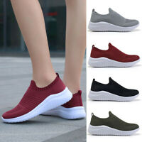 WOMENS LADIES SLIP ON SNEAKERS KNIT TRAINERS HEEL WOMEN PARTY RUNNING SHOES SIZE