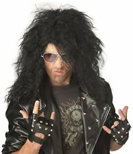 Black Long Hair Rocker Dude Wig Heavy Metal Costume 1980s Rockstar Hairpiece New