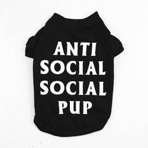 Boy Dog Clothes Shirt Cat Puppy Vest for Small Medium Pets Black ANTI SOCIAL PUP