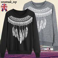UK Womens Ladies Long Sleeve Jumper Pullover Hoodies Top Winter Plain Sweatshirt