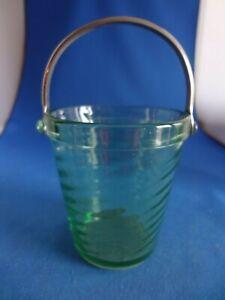 Rare Fostoria Spiral Optic Green #2378 Sugar Pail-Excellent
