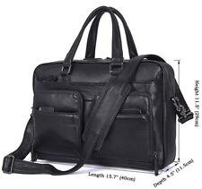 """J.M.D Mens Leather Cowhide Deluxe Briefcase 15.7"""" Laptop Bag Expandable Handbag"""