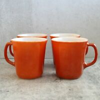 Vintage Retro Set of 4 Corelle Corning Burnt Orange Cinnamon Coffee Mugs Cups