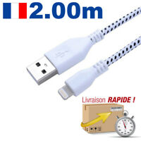 CABLE CHARGEUR USB TRESSÉ 8PIN DATA SYNCRO LIGHTNING IPHONE 6 5C 5S IPOD IPAD 2M