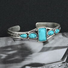 Gemstone Bracelet Adjustable Bridal Jewelry Women's Vintage 925 Silver Turquoise