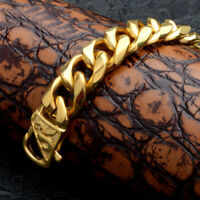 18K Gold Stainless Steel Curb Link Chain Bracelet for Men Rapper Jewelry 15mm