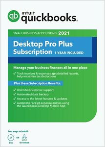 QuickBooks Desktop Pro  Plus 2021 - 1 User (PC Download + CD)