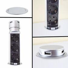 BITUXX Tischsteckdose 3fach versenkbar Vertikal 3er Steckdosenleiste mit 2x USB