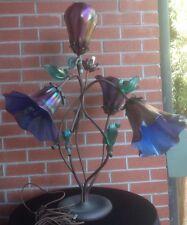 JOHN COOK STUDIO IRRIDESCENT BLUE LOTUS ART GLASS LAMP Signed & #