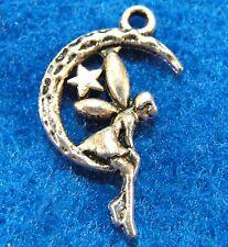 50Pcs. WHOLESALE Tibetan Silver ANGEL Moon Star Charms Pendants Ear Drops Q0648
