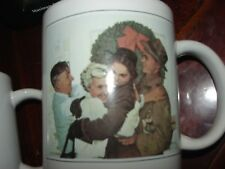 Set of Two (2) Norman Rockwell Christmas / Holiday Mugs - Free Shipping