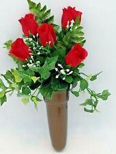 Crypt Mausoleum Vase & Silk Red Rose Flowers w/ Bolt Button Support