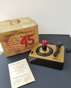 RCA J-2 45 RPM RECORD PLAYER CHANGER WITH BOX AND PAPERS SEE DESCRIPTION