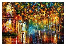 """STUNNING COLOURFUL OIL PAINTING/RAINY NIGHT CANVAS PICTURE WALL ART LARGE 20x30"""""""