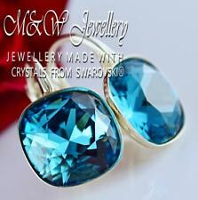 925 Silver Earrings Crystals From Swarovski® FANCY STONE 10mm - Indicolite F