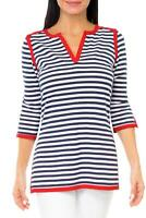 Gretchen Scott Navy White & Red Admiral Stripe Cotton Knit Tunic Top SZ M