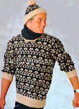 "Knitting Pattern MENS FAIR ISLE SWEATER PULLOVER JUMPER & BOBBLE HAT 38-44"" DK"