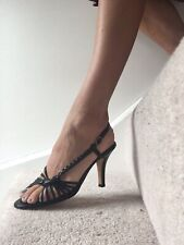 """Bally black heels3.5"""" sandals size38~5uk great condition"""