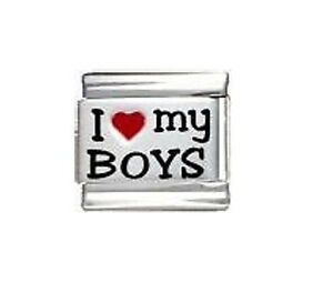 9mm Italian Charm Sons  Laser I Love My Boys Fits Classic Size Bracelet