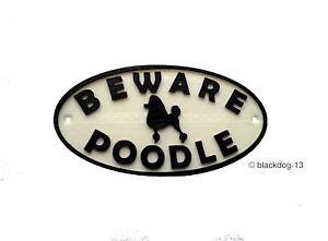 Poodle & Motif Beware Of The Dog Sign - House Garden Plaque - White/Black
