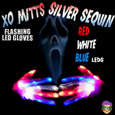 XBONE XO SILVER SEQUIN LIGHT UP GLOVES RED-WHITE-BLUE FLASHING FINGERS HALLOWEEN