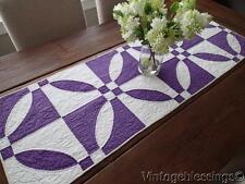 "Vintage 30s Rich Purple & White Table Quilt Runner 50"""