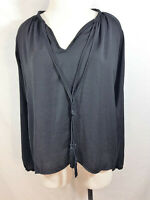 Olivaceous Women's Black Long Sleeve Tassel Tie Blouse Sz S