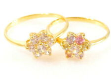 Simulated Diamond Flower Ring Yellow Gold 14K 18K Plated Clear Pink J L M N P UK