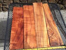 """Ultra Curly 5a Curl Hawaiian Koa Wood 4@19-23""""x3-5x1"""" For Knife Handles"""